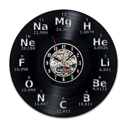 Amazon periodic table vinyl wal clock art decorations chemistry periodic table vinyl wal clock art decorations chemistry decor teacher gifts vintage accessories funny symbols urtaz