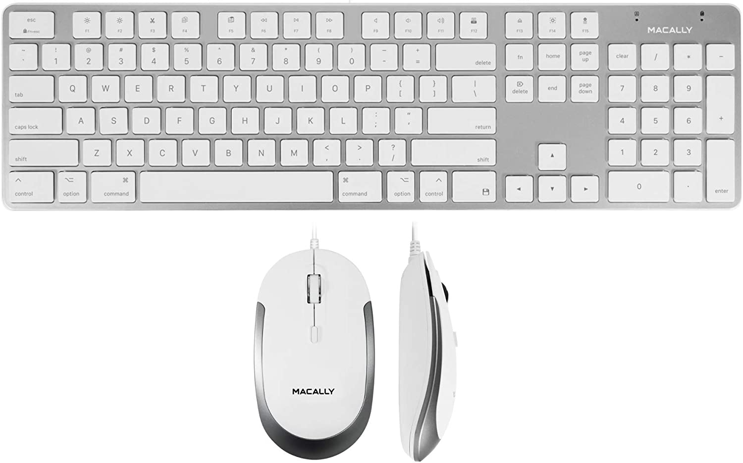 Macally Ultra Slim Wired Keyboard and a Silent Wired Mouse, Simplistic Apple Accessories