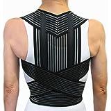 SUPPORT POSTURE DOS AVEC BALEINES -Noir, XL (98-108 cm.)- Soutien Correcteur de Posture Ceinture de Maintien Épaules - UNISEXE Pour homme et pour femme