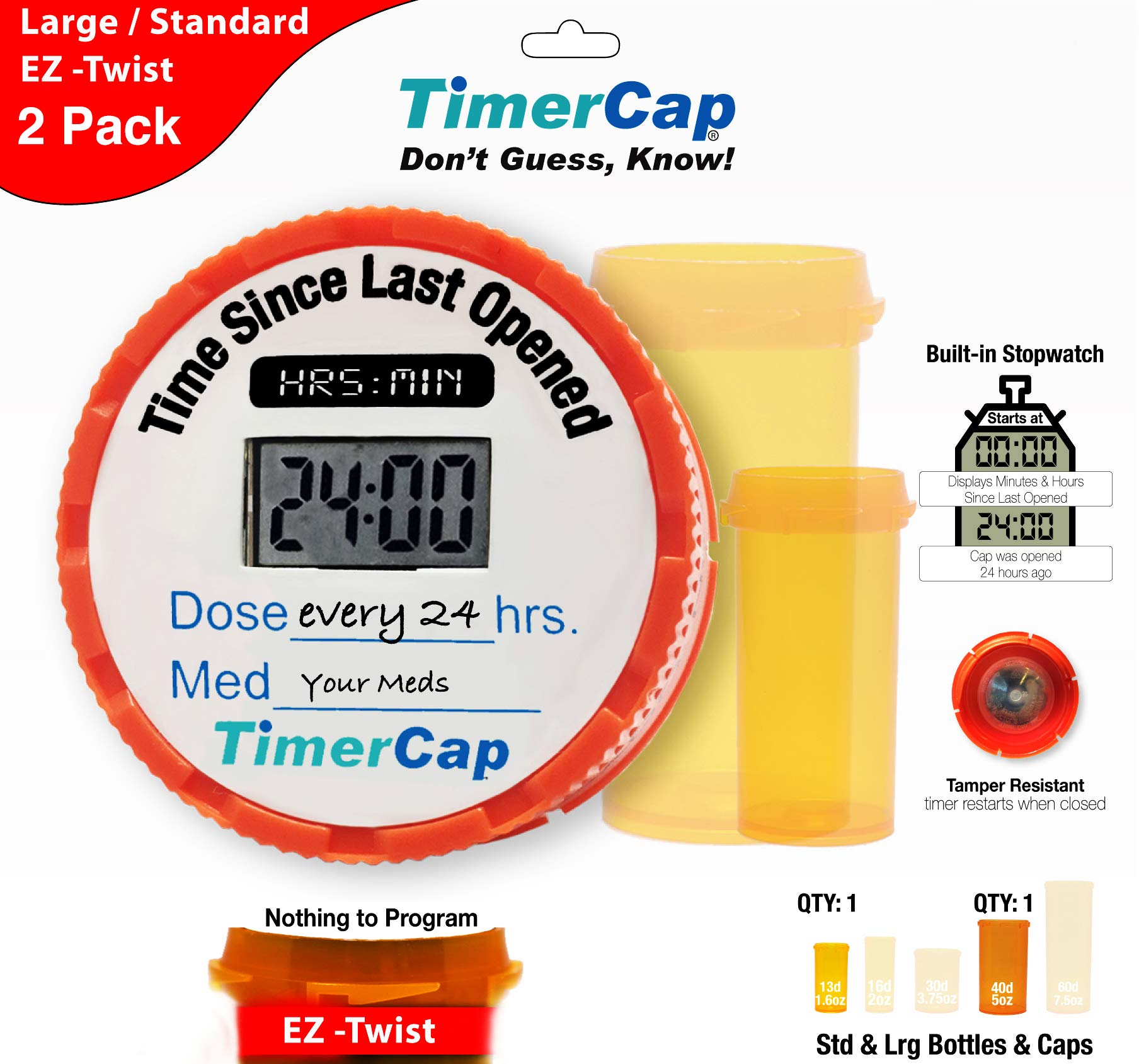 TimerCap Smart Medicine Bottle Cap Last Opened Time Indicator Auto Medication Tracker (2 Pack, Combo (Wide Mouth / 1.6 oz Container) - EZ-Twist