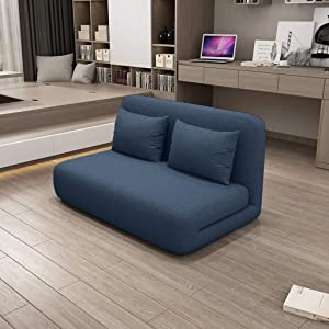 Portable Sofa Bed - Adjustable Folding Lazy Sofa Floor Chair Lounger Bed, Removable Cover, Thick Sponge, Adjustable Backrest Angle, Convertible Lazy Recliner for Home Office