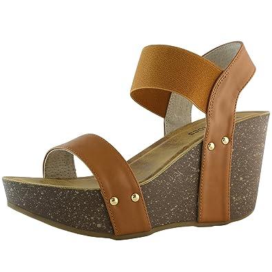 43222601b53 DailyShoes Women s Wedge Platform Slide On Comfort Ankle Elastic Strap  Sandal Buckle Shoes