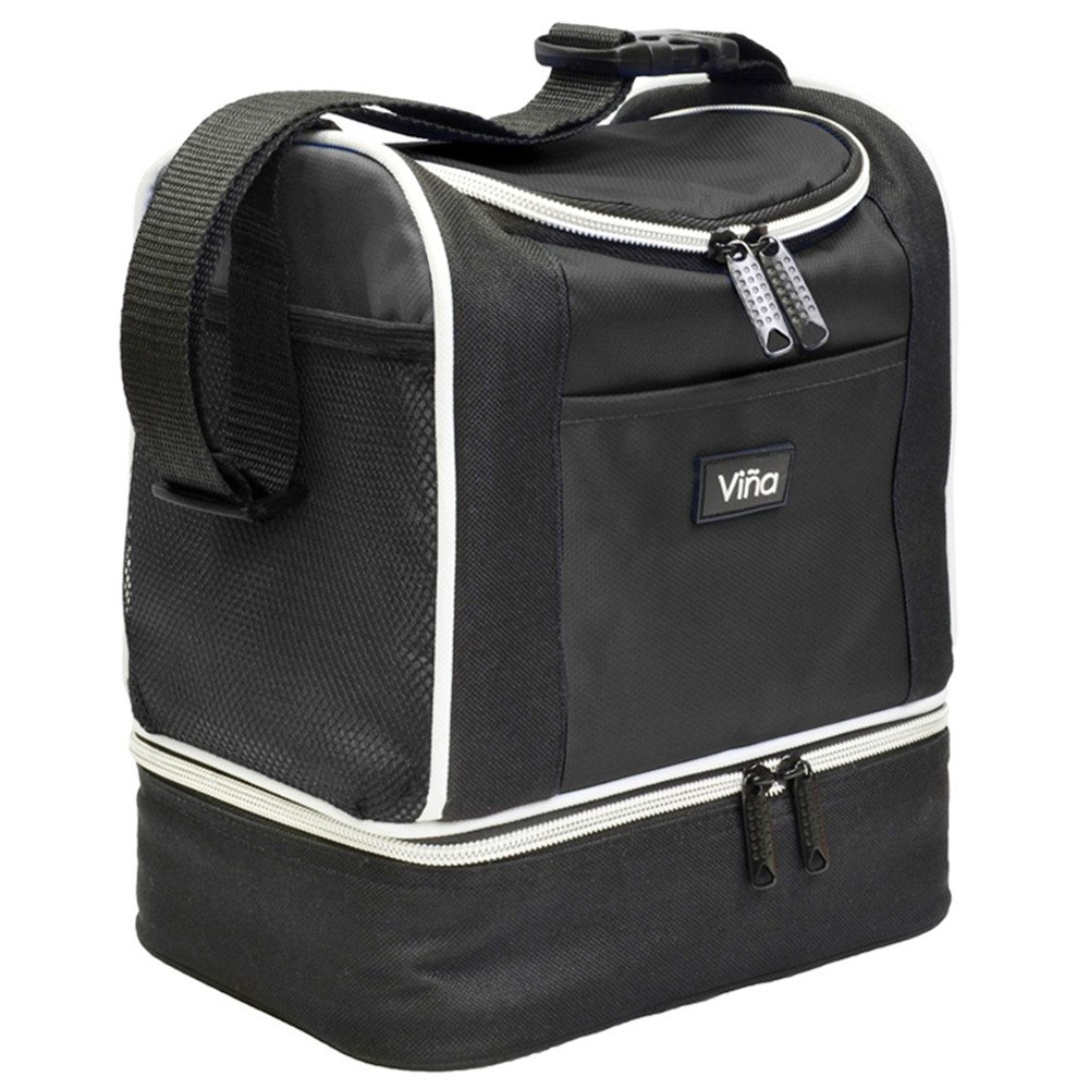 Vina Insulated Lunch Bag, Dual Compartment Reusable Bento Lunch Box Cooler Tote with Shoulder Strap for Adult and Kids