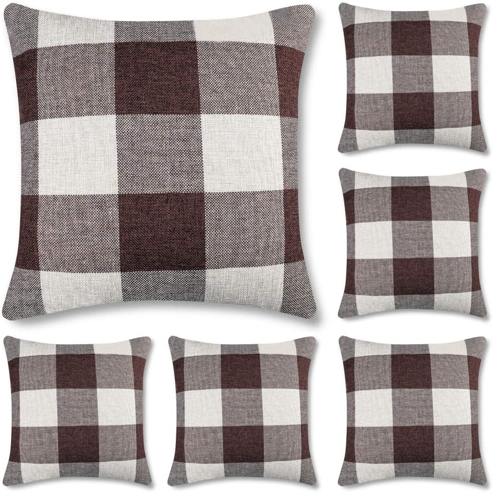 Decorsurface Set of 6 Buffalo Check Plaid Throw Pillow Covers 18x18, Farmhouse Decorative Square Pillow Covers Cushion case for Home Decor, Brown and White