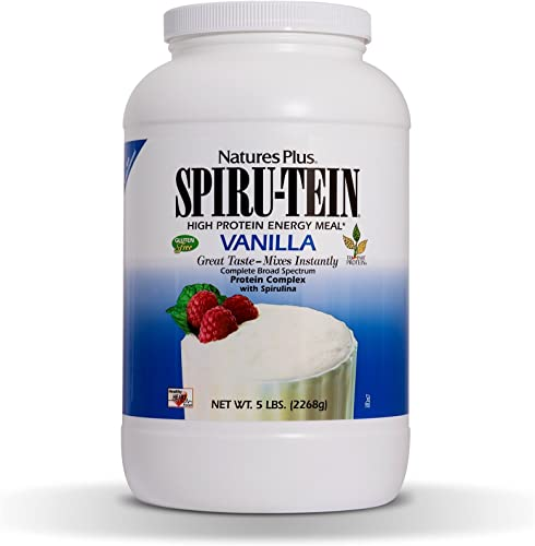 NaturesPlus SPIRU-TEIN Shake – Vanilla – 5 lbs, Spirulina Protein Powder – Plant Based Meal Replacement, Vitamins Minerals For Energy – Vegetarian, Gluten-Free – 67 Servings
