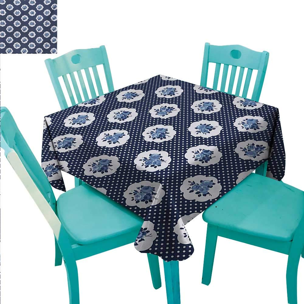 """WilliamsDecor Shabby Chic Easy Care Tablecloth Feminine Pattern with Curvy Frames Motifs with English Roses Polka Dots Indoor Outdoor Camping Picnic 60"""" Wx102 L Dark Blue White"""