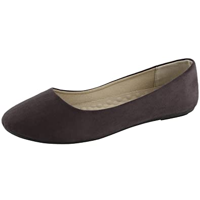 5ba2177f5ac DailyShoes Women s Classic Flats Comfortable Upper Round Flat Slip-On Loafer  Sneaker Shoes-Ideal