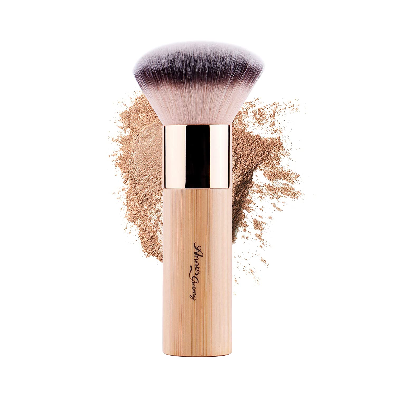 ANNE'S GIVERNY Makeup Foundation Brush Bronzer Loose Powder Blush Finish Airbrush Buffer Contour Kabuki Blender (Bamboo)