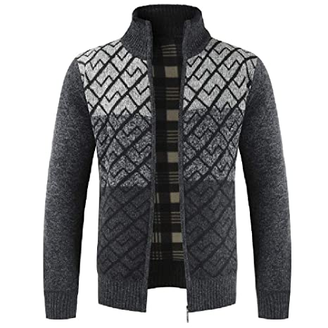 de1486e66d89f Image Unavailable. Image not available for. Color  Mens Full Zip Up  Sweaters Lightweight Casual Slim Fit ...