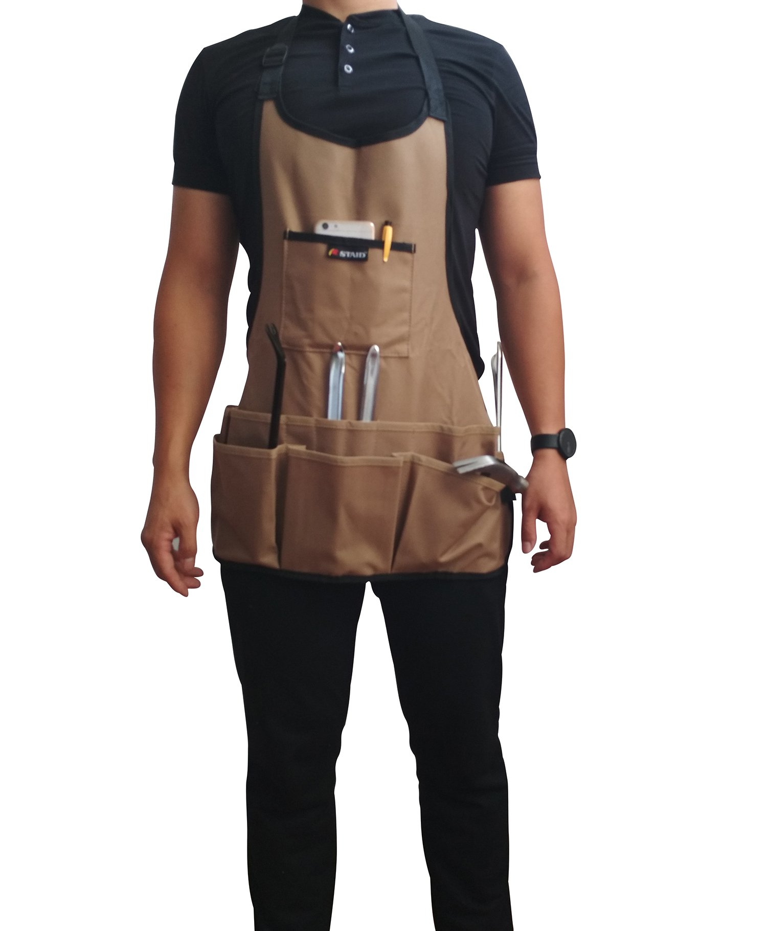 Tebery 600D Oxford Cloth Heavy Duty Work Apron, Adjustable and Durable Tool Aprons - Khaki by Tebery (Image #5)