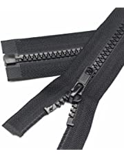 YaHoGa 2 piezas # 5 separación cremalleras para chaqueta coser abrigos cremallera negro cremalleras de plástico moldeado