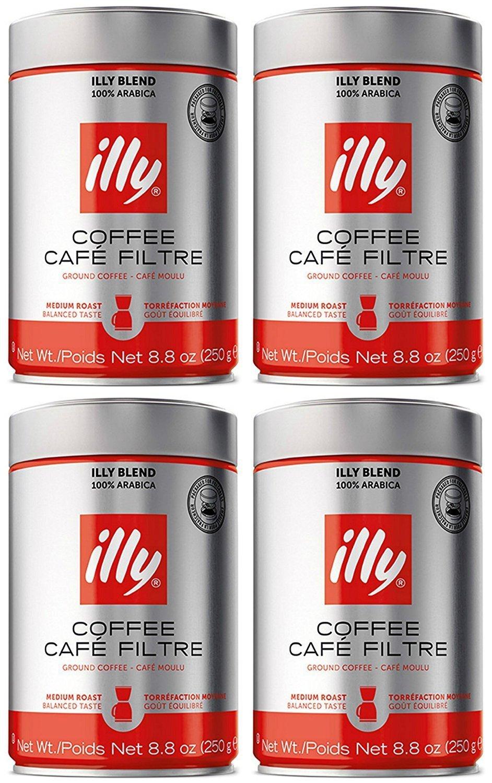 Illy Caffe Normale Drip Medium Roast Ground Coffee 8.8 Oz (Pack of 4)