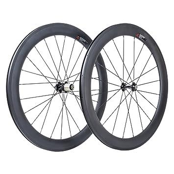 VCYCLE 700C Fibra de Carbono Bicicleta de Carretera Ruedas 60mm Remachador Shimano o Sram 8/9/10/11 Velocidad: Amazon.es: Deportes y aire libre