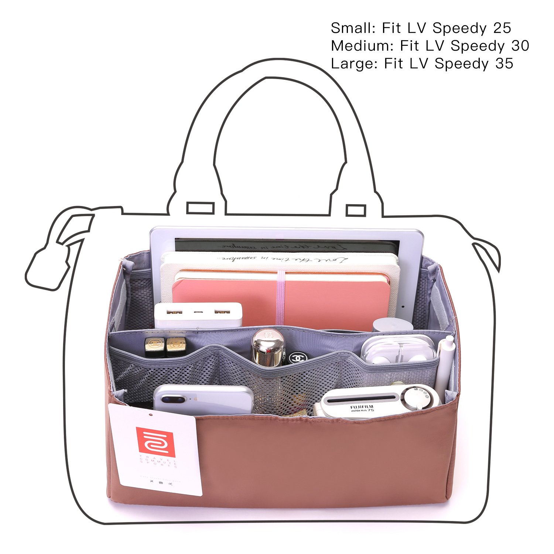 IN Purse Organizer,Handbag Organizer Insert for Speedy 25,30,35 Purse Liner Foldable (Medium, brown) by iN. (Image #2)