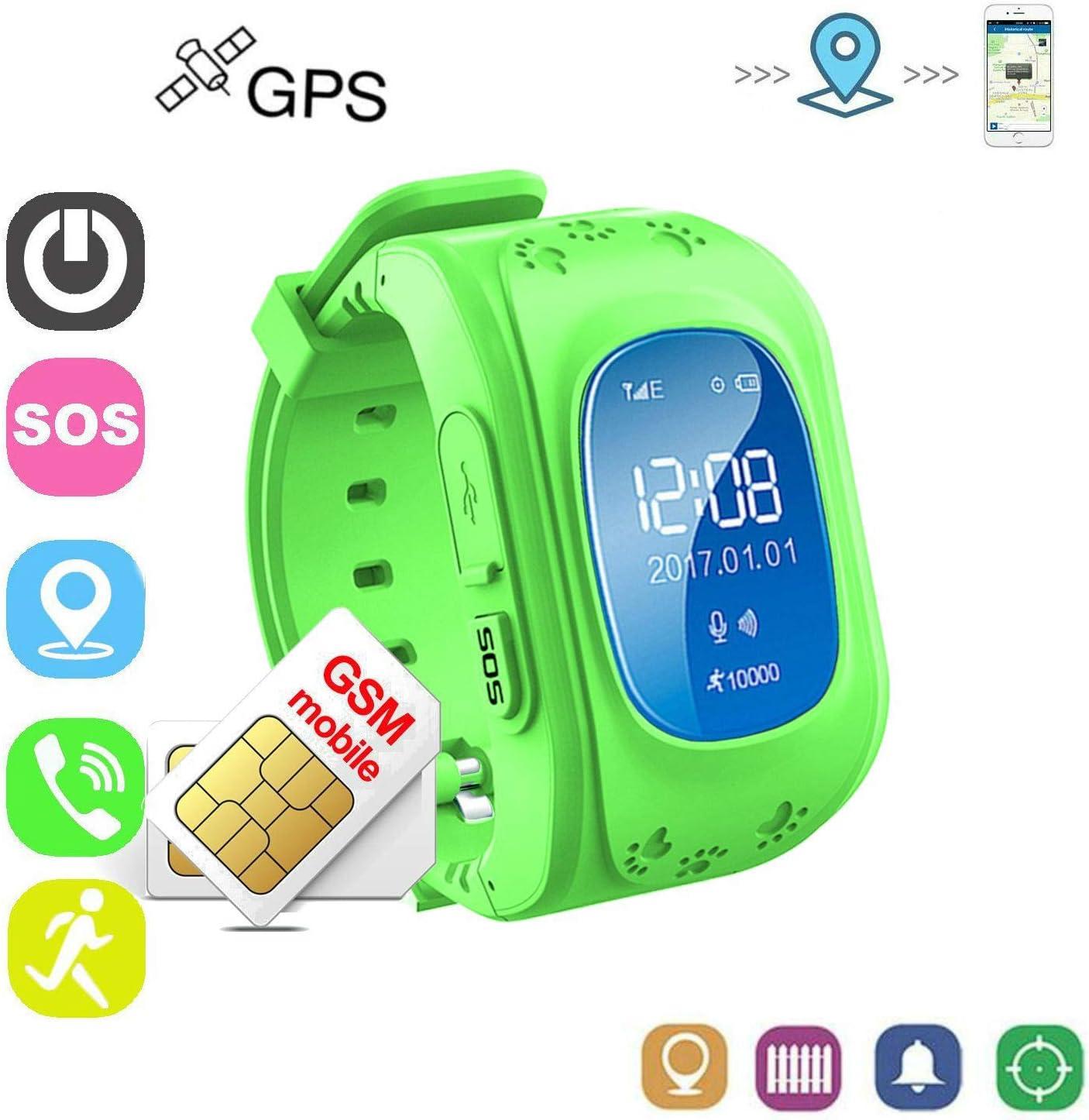Winnes Reloj Localizador Niños GPS Localizador Niños Pulsera Pulsera Niños Seguridad GPS Reloj Niña GPS Smartwatch Niños Localizador GPS Seguimiento en Tiempo Real,Podómetro(Verde)