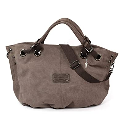 Bag Street Damen Shopper Handtasche Schultertasche Beutel Canvas 4530,  Farbe Braun 12829f1a48