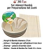 Juego herramientas Bambú para preparación del sushi Compreso hangiri, abanico, STUOIA Bambú, espátula de bambú