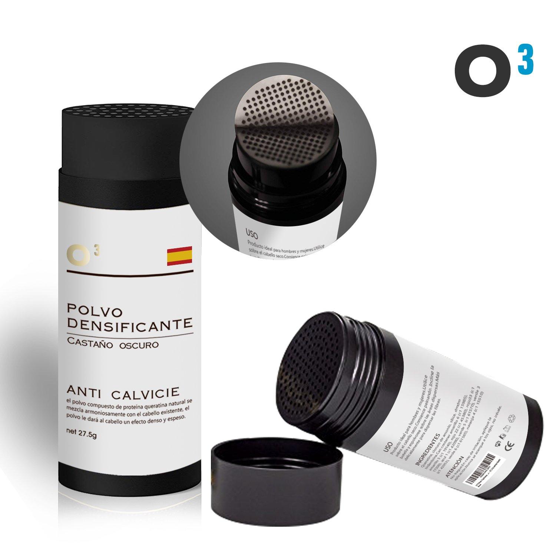 O³ Fibras Capilares Castaño Oscuro - Keratin Fibers Castaño Oscuro 100% Natural para Disimular Calvicie y Aumentar el volumen.