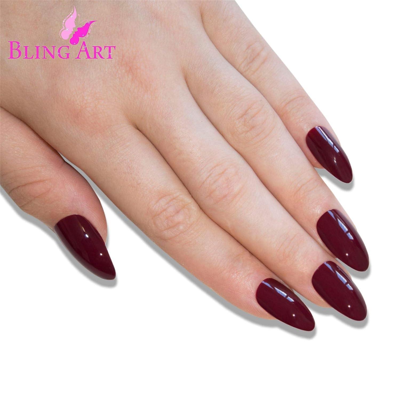 Health & Beauty Nail Care, Manicure & Pedicure Falsche Nägel Bling Art Braun Rot Stilett Mandel 24 Kunstnägel Lange Tipp Kleber