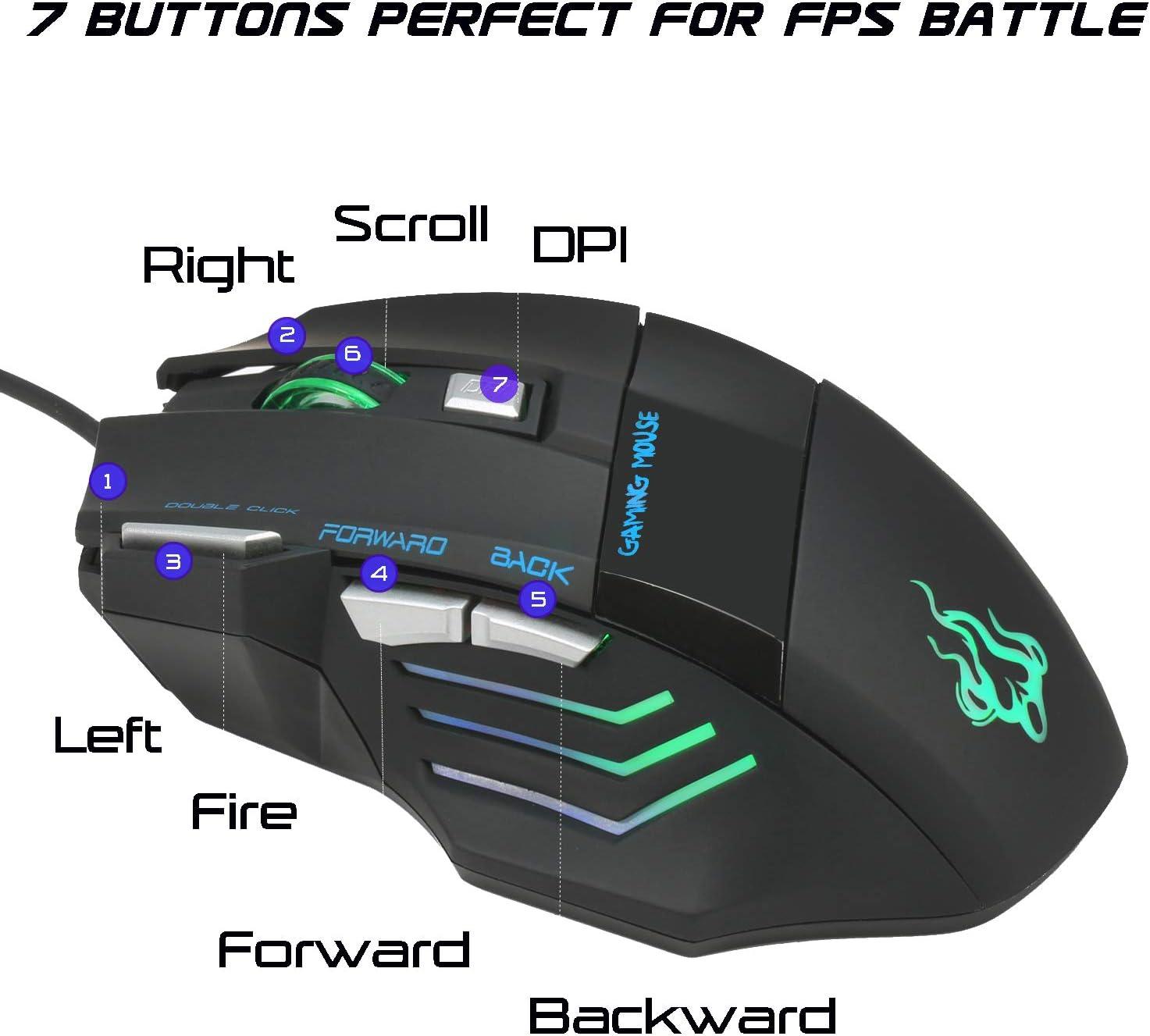 QueenDer Ratón Gaming, Ratones Gaming Profesional con Cable USB Gaming Mouse Óptico, 4 dpi Adjustables y 7 Botón Compatible con Windows 7, 8, 10, XP, ...
