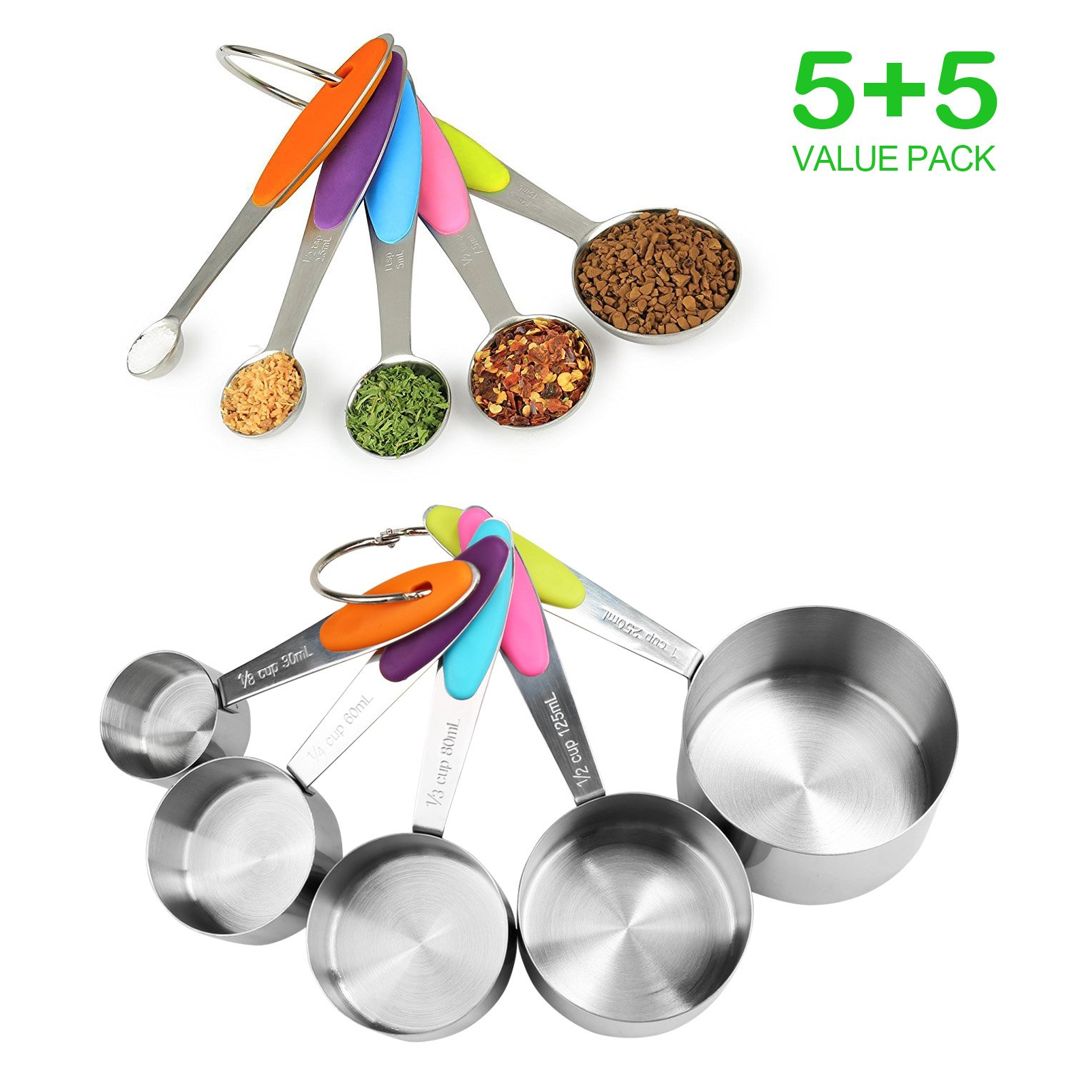 LEADSTAR Measuring Cups and Spoons Set 10 Piece, Professional Stainless Steel Kitchen Cooking Baking Measuring Cups Measuring Spoons with Silicone Handle