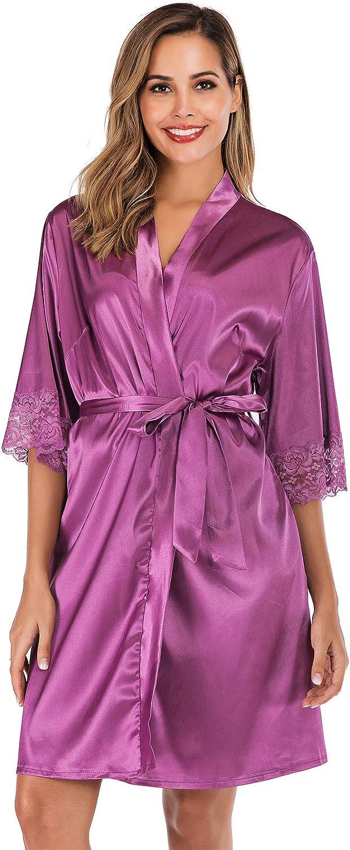 ABirdon Womens Kimono Robes Dressing Gown Satin Bathrobe Nightdress Oblique V-Neck Kimono Robe Nightwear