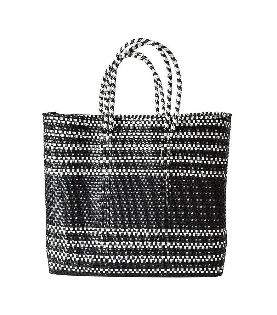 (レトラ) Letra メルカドバッグ BORDER&pattern M mercado-bag-bomidi-m B07D5752D6  ブラックボーダー M