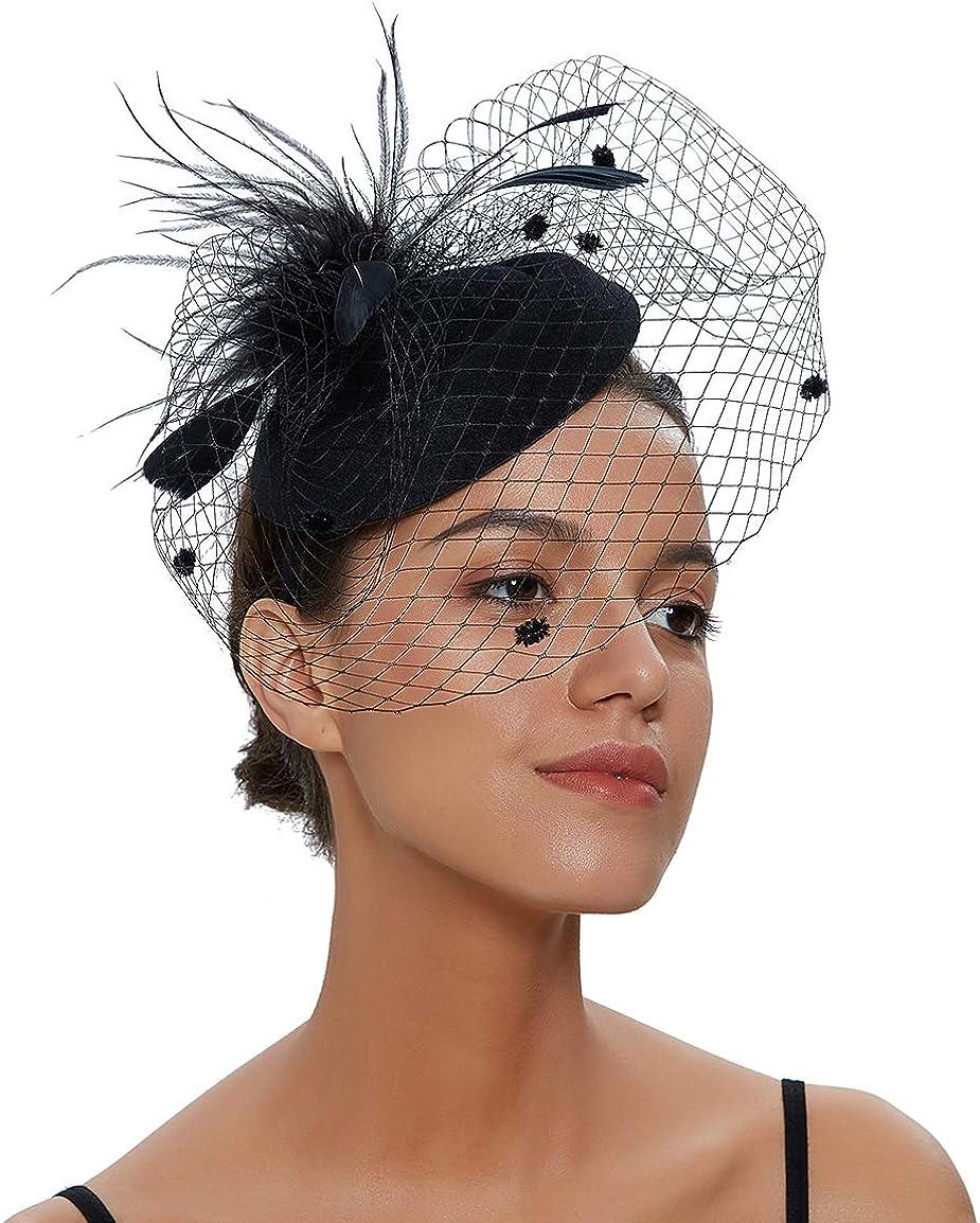 ilishop Fascinator Sombrero, Pluma Semicircular Sombrero Tocado Banquete Novia Adornos para el Cabell
