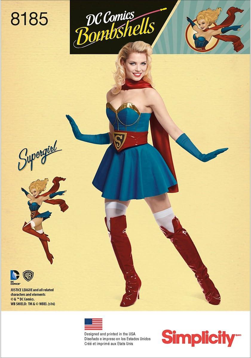 R5 Simplicity 8185 D.C Bombshells Super Girl Costume for Miss 14-16-18-20-22