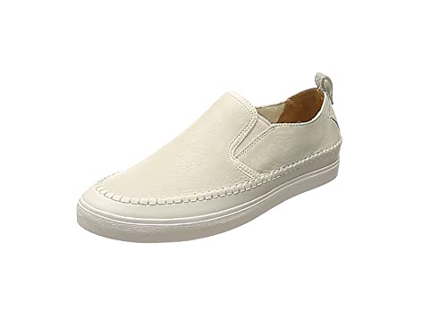 Clarks Kessell Slip, Mocasines para Hombre, Blanco (White Leather-), 39.5