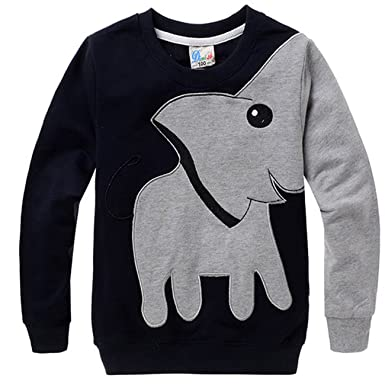 bbec446683d COCM10 Little Boys Jumpers Kids Elephant Sweaters Sweatshirt Pullover  Clothing Shirts Casual Tops Cotton Tee Age 2 3 4 5 6 7