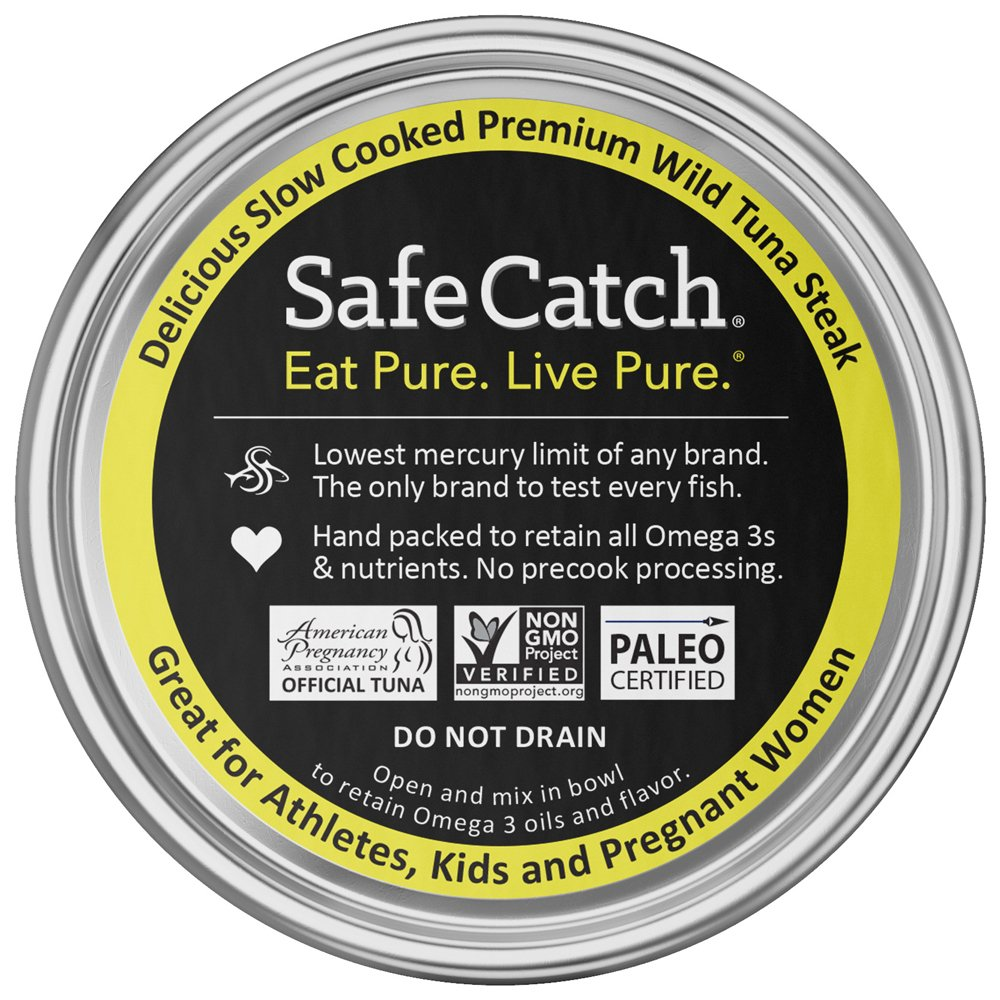 Safe Catch Ahi, Lowest Mercury Solid Wild Yellowfin Tuna Steak, 5 oz Can. The Only Brand to Test Every Tuna for Mercury (Pack of 12) by Safe Catch (Image #2)