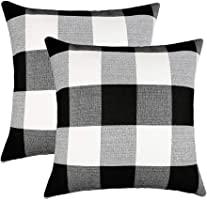 kpopbaby 黑色白色復古 checkers 3亞麻方形抱枕套裝飾靠墊枕套枕套靠墊枕頭套適用于沙發45.7?x 45.7?cm