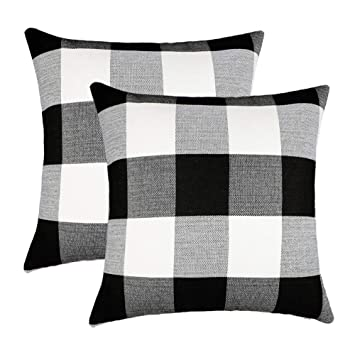 Wondrous 4Th Emotion Set Of 2 Farmhouse Buffalo Check Plaid Throw Pillow Covers Cushion Case Cotton Linen For Fall Home Decor Black And White 18 X 18 Inches Dailytribune Chair Design For Home Dailytribuneorg