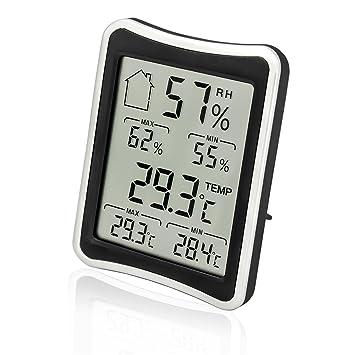 HICYCT Termómetro Digital Higrómetro, Termómetro de interior y exterior, medidor de higrómetro, registro mínimo/máximo, indicadores de comodidad, ...