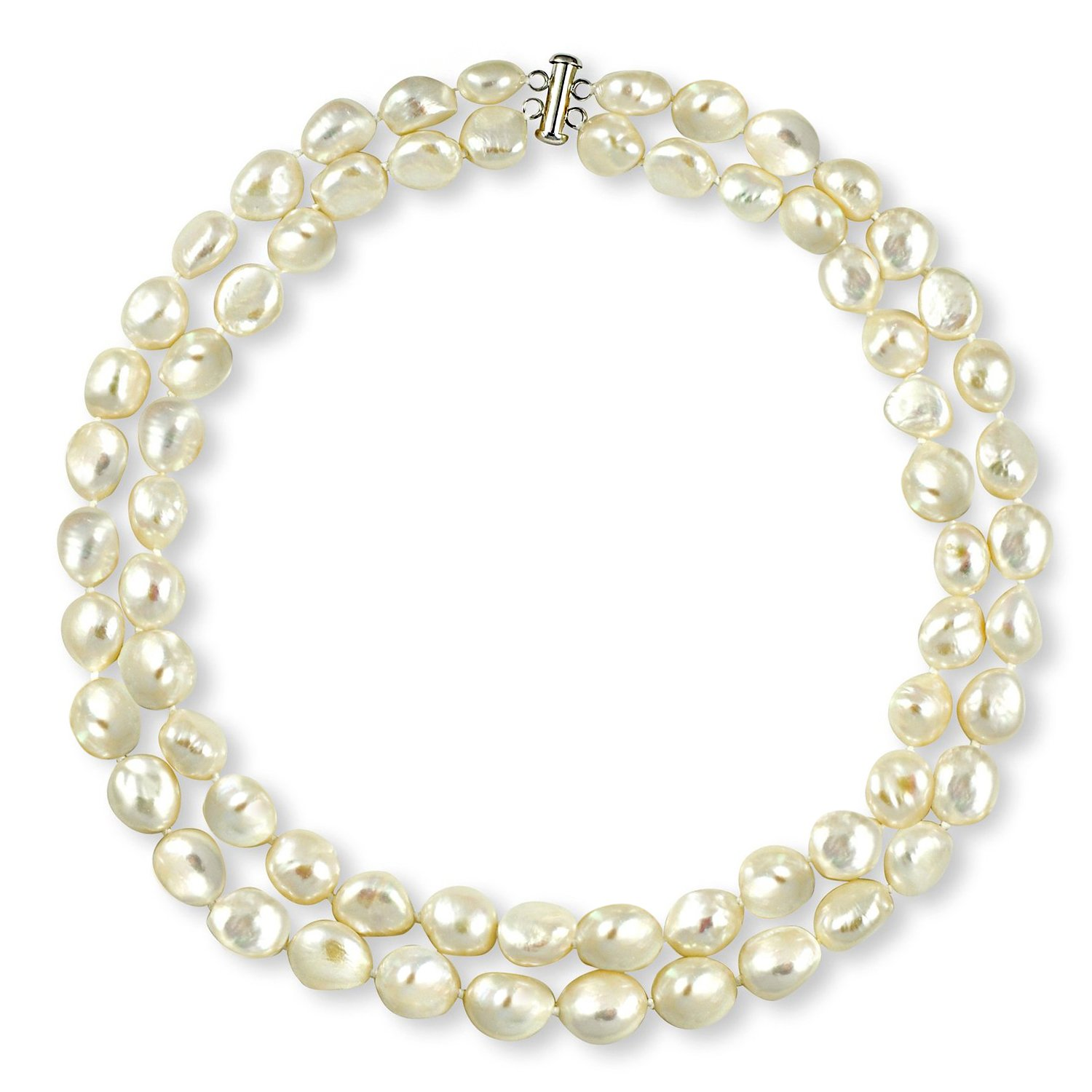 Sterling Silver Cultured Baroque Freshwater White Pearl Necklace Strand Bridal Jewelry 11-11.5mm 17 inch