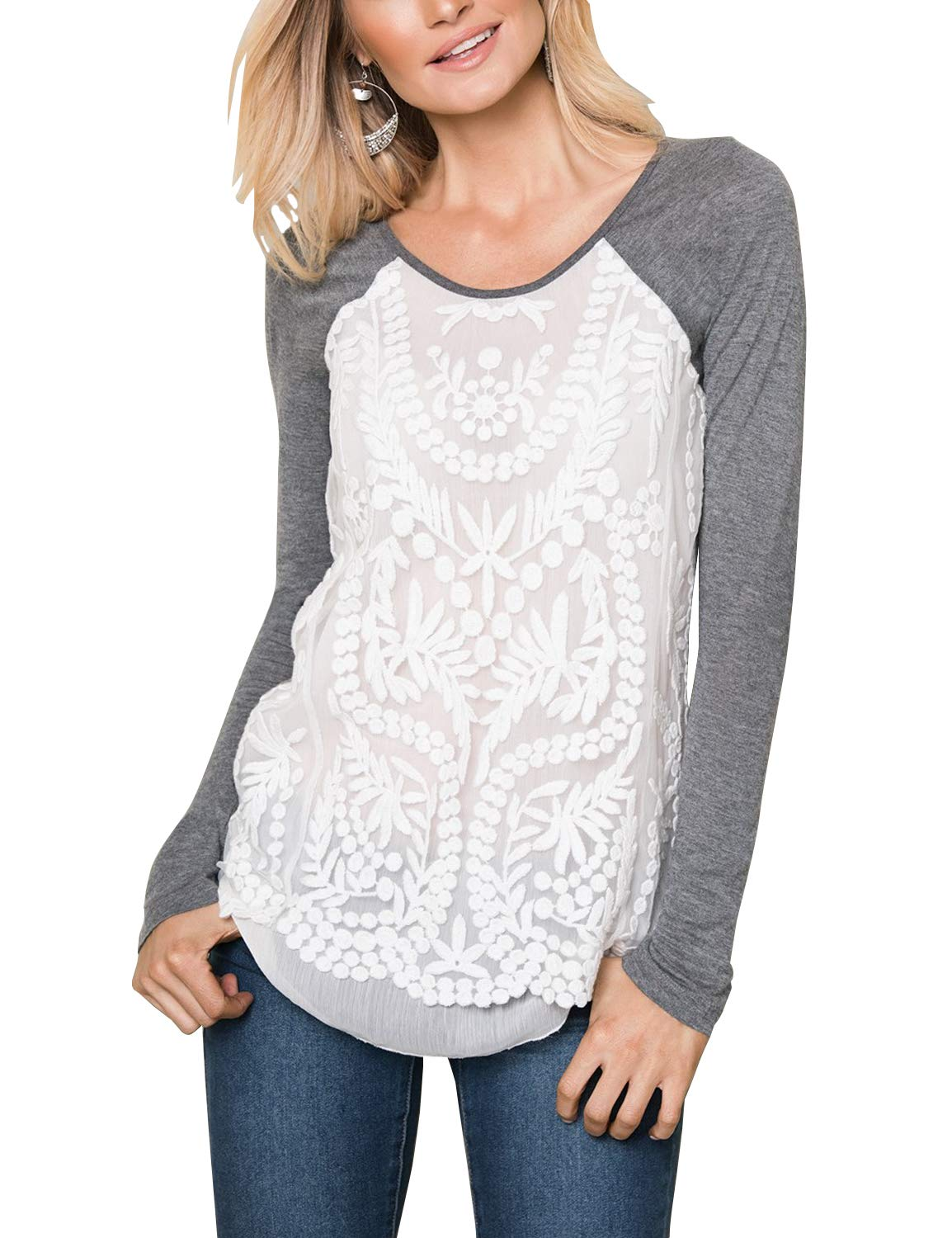 Blooming Jelly Womens Long Sleeve Round Neck Raglan Lace Shirt Top Grey