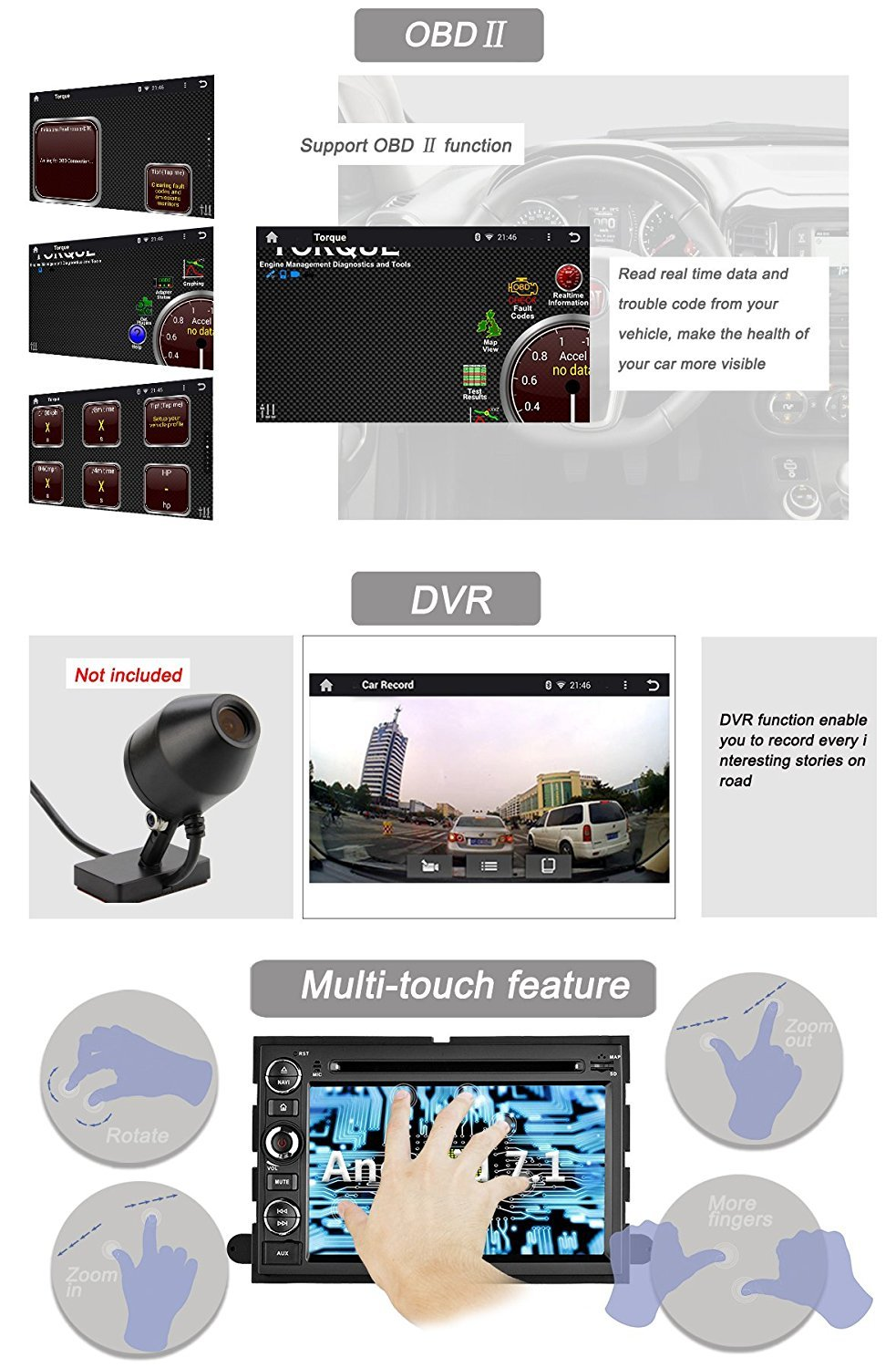 Yinuo Quad Core 16gb 7 Inch Android 71 Double Din Car Amazoncom Stereo Install Dash Kit Ford 500 06 2006 Radio Wiring Dvd Player In Gps Navigation For F150 2004 2008 Fusion