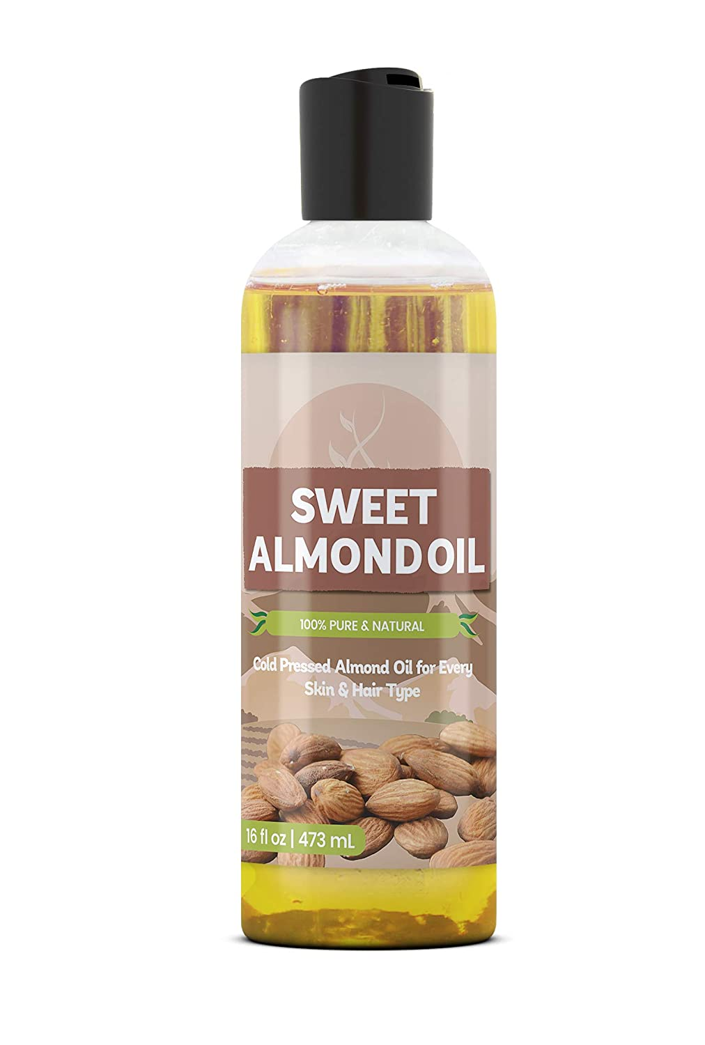 Sweet Almond Oil (16 fl oz) by Pure Organic Ingredients, Improve Overall Skin Complexion, For Fine Lines & Wrinkles, Relieve Dry & Cracked Skin, Healthier Hair & Nails, For All Skin Types