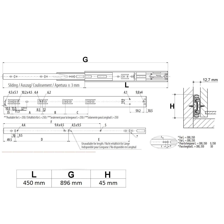 SO-TECH/® Vollausz/üge mit SoftClosing H 45 1 Paar 2 St/ück L 350 mm Schubkastenausz/üge Teleskopschienen