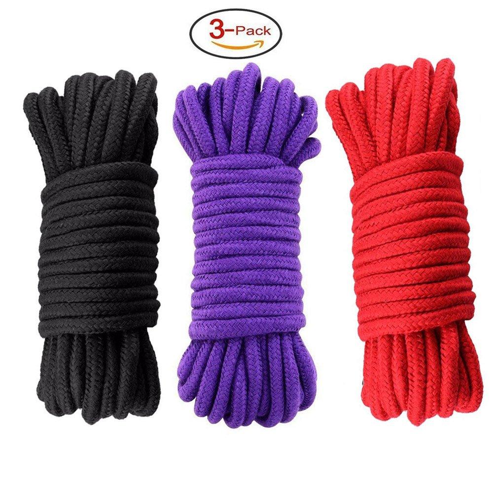 2pc Multi funcional algodón cuerda suave algodón cuerda 10metros 8mm trenzado Cable, Black-Purple XinPai Team