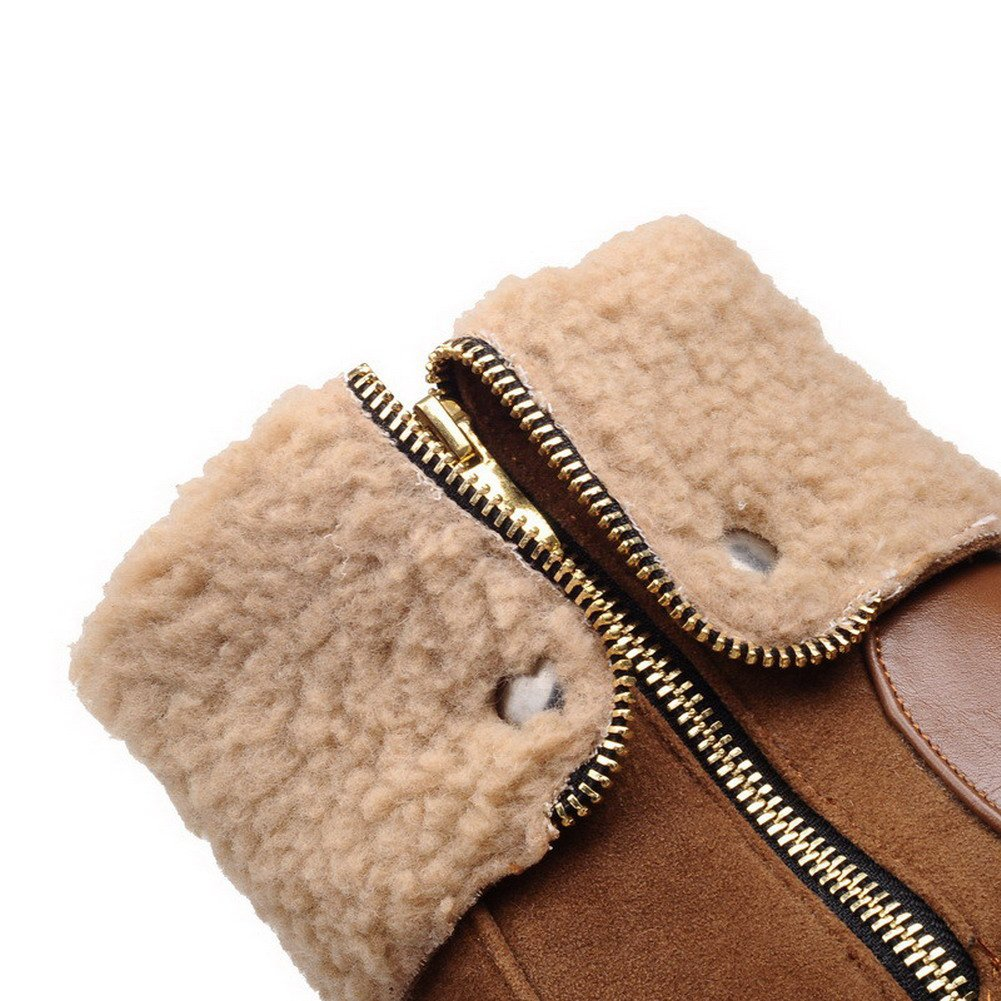 AmoonyFashion Womens Kitten-Heels Soft Material Low-top Solid Zipper Boots