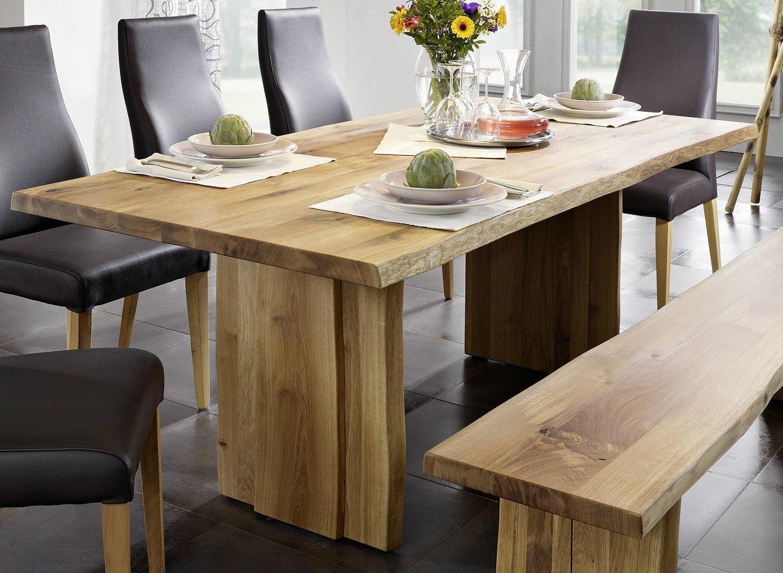 Tisch mit Baumkante Baumtisch 280x100cm 'Amber' Wildeiche massiv Holz geölt