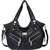 Angelkiss Two Top Zippers Large Capacity Handbags Washed Leather Purses Shoulder Bags Women 1135