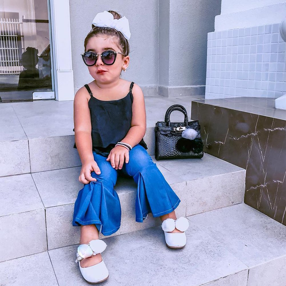 e57ef8a5c8244 Amazon.com  Little Girl Kids Strappy Ruched Black Vest Top + Casual Denim  Blue Bell-Bottoms Outfits 2PCS Summer Cothing Set  Clothing