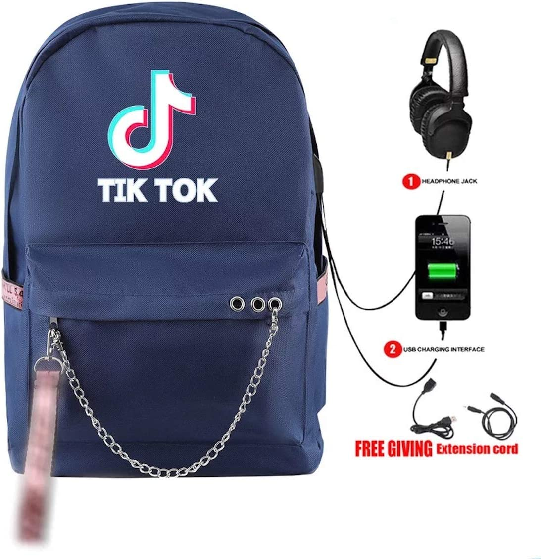 Gin-back Kids Back to School TikTok USB Charging Backpack Bag-Canvas Travel Daypack with Headphone Port Graphic Backpack