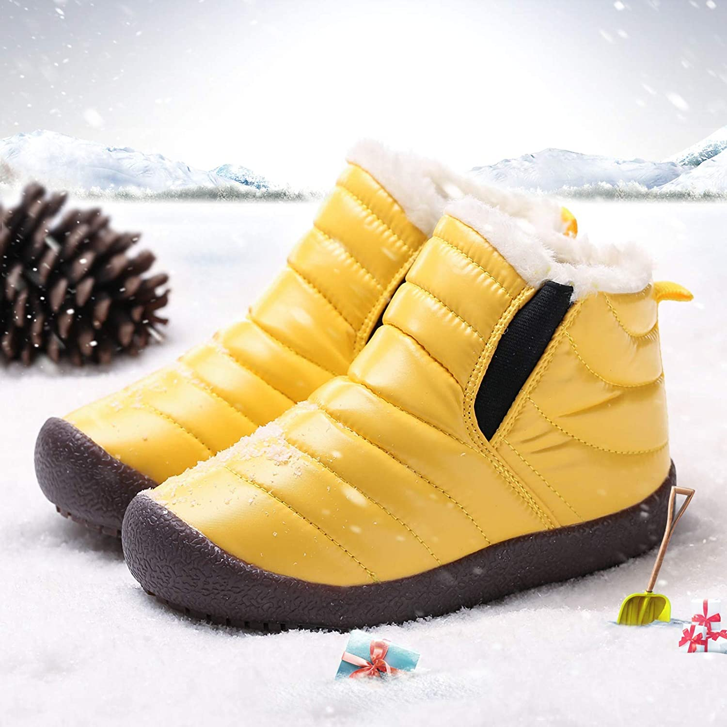 Ymombest Boys Girls Waterproof Snow Boots Winter Fur Lined Warm Shoes Insulated Rubber Nonslip Children Ankle Boots