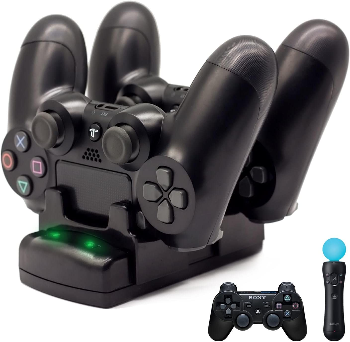 50465142 PS4/PS3 Controller Charger, BRHE Playstation 4/PS4 Pro/PS4 Slim/PS3/PS3  Move Controller Charger Charging Docking Station Stand USB Fast Charging ...