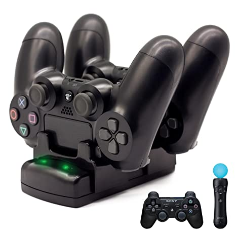 PS4/PS3 Controller Charger, BRHE Playstation 4/PS4 Pro/PS4 Slim/PS3/PS3 Move Controller Charger Charging Docking Station Stand USB Fast Charging ...