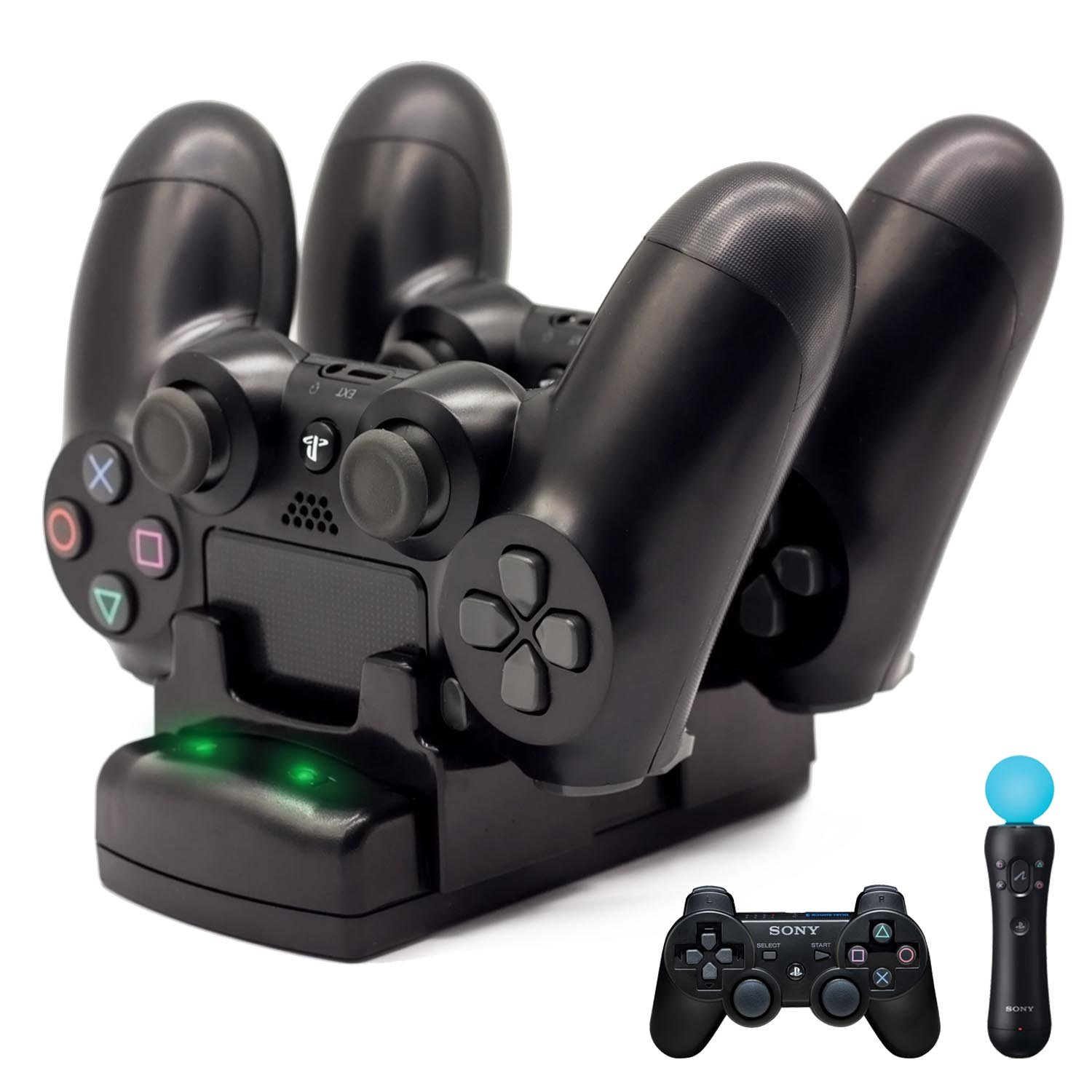 PS4/PS3 Controller Charger, BRHE Playstation 4/PS4 Pro/PS4 Slim/PS3/PS3 Move Controller Charger Charging Docking Station Stand USB Fast Charging Station for Sony PS4/PS3 Controller--Black by BRHE